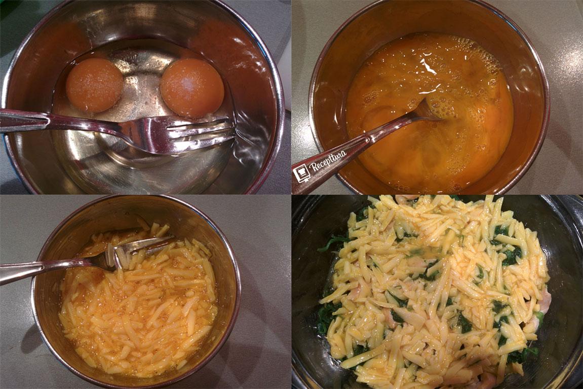 Razmućena jaja i sir spremni su za spajanje sa smjesom špinata i piletine.